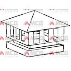 Тип 14. Колпак оголовок на трубу дымохода с четырехскатной крышей с боковыми отверстиями, РЕ, 390 х 390 мм