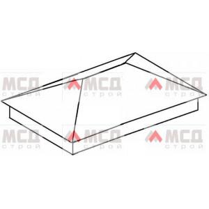Тип 1. Колпак на столб заборный с четырехскатной крышей, 420 мм х 570 мм, RAL