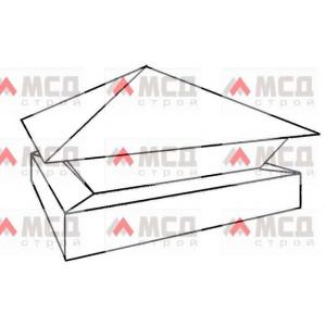 Тип 10. Колпак на столб заборный с четырехскатной крышей с скрошенным двойным основанием, 420 мм х 570 мм, RAL