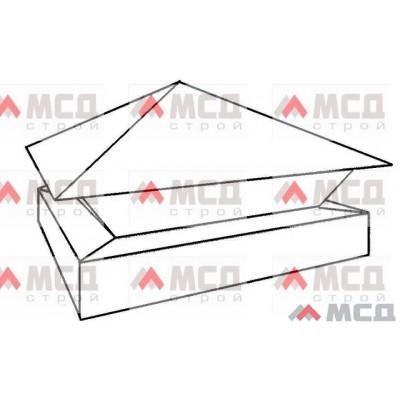 Тип 10. Колпак на столб заборный с четырехскатной крышей с скрошенным двойным основанием, 300 мм х 300 мм, RAL