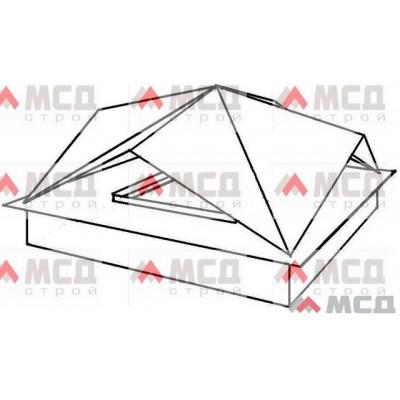 Тип 12. Колпак оголовок на трубу дымохода с многогранной фигурной крышей (двухскатная крыша на каждую сторону основания), РЕ, 390 х 390 мм