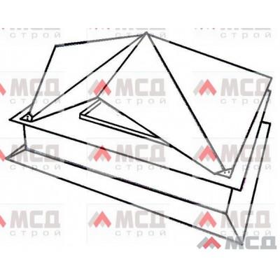 Тип 12. Колпак оголовок на трубу дымохода с многогранной фигурной крышей (двухскатная крыша на каждую сторону основания), РЕ, 390 Х 520 мм