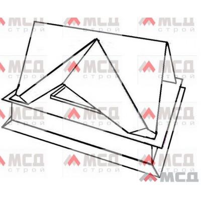 Тип 12. Колпак оголовок на трубу дымохода с многогранной фигурной крышей (двухскатная крыша на каждую сторону основания), РЕ, 520 х 520 мм