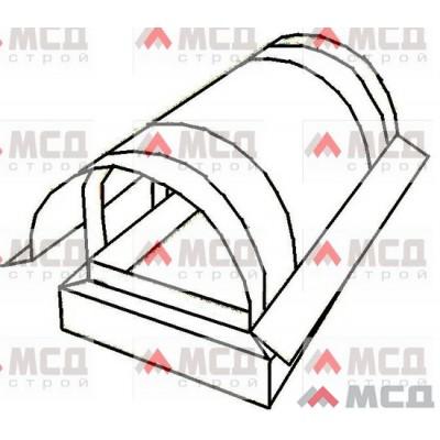 Тип 16. Колпак на трубу дымохода с полукруглой крышей с капельником по скату, РЕ, 390 х 390 мм