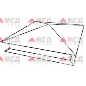 Тип 3. Колпак на столб заборный  с четырехскатной крышей с капельником, 300 мм х 300 мм, RAL