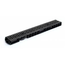 канал водоотводный пластиковый dn 100 h 70 в сборе с чугунной усиленной решеткой d400, комплект