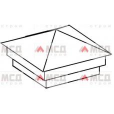 Тип 4. Колпак на столб заборный с четырехскатной крышей с двойным уменьшенным основанием, 300 мм х 300 мм, RAL
