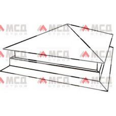 Тип 6. Колпак на столб заборный с четырехскатной крышей с двойным увеличенным основанием с капельником, 300 мм х 300 мм