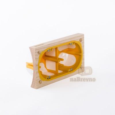 Герметичный подрозетник с подложкой на бревно 220 мм, двухместный