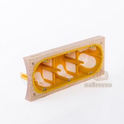 Герметичный подрозетник с подложкой на бревно 260 мм, трехместный