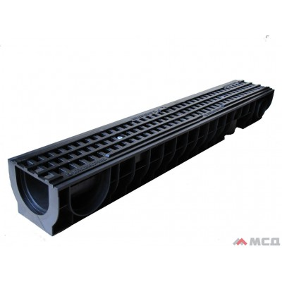 комплект: лоток водоотводный polymax basic лв-10.16.12-пп пластиковый с решеткой ячеистой пластиковой кл.а