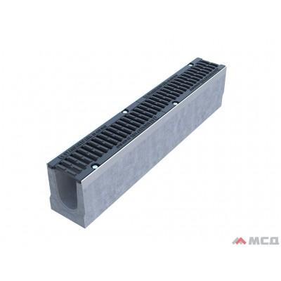 лоток betomax drive лв-10.16.21-б бетонный с решеткой щелевой чугунной вч кл.d (комплект) 56,14 кг