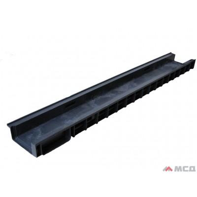 лоток водоотводный polymax basic лв-10.15.06-пп в пластиковый с вертикальным водоотводом