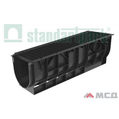 лоток водоотводный polymax basic лв-30.39.38-пп пластиковый с решеткой ячеистой чугунной вч кл. с (комплект) 087003
