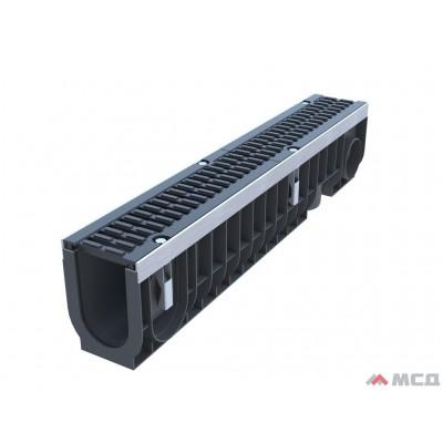 лоток водоотводный polymax drive лв-10.16.20-пп пластиковый с решеткой щелевой чугунной вч кл. d (комплект) 13,51 кг