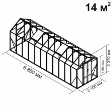 Алюминиевая теплица botanik Mini 14 кв.м.