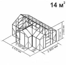 Алюминиевая теплица botanik с мини-тамбуром 14 кв.м.