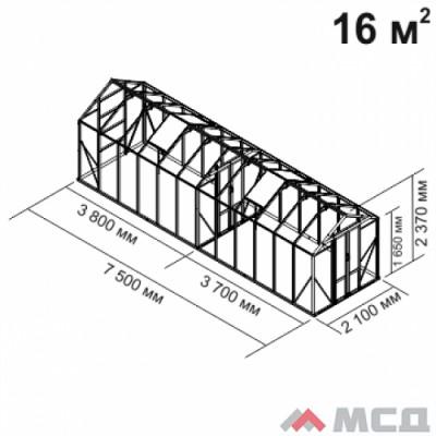 Алюминиевая теплица botanik Mini 16 кв.м.