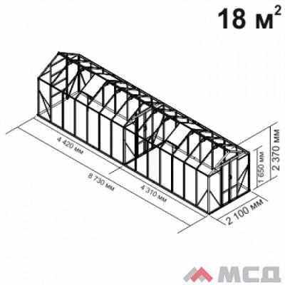 Алюминиевая теплица botanik Mini 18 кв.м.