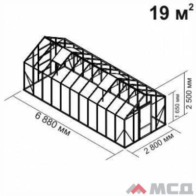 Алюминиевая теплица botanik Standard 19 кв.м.