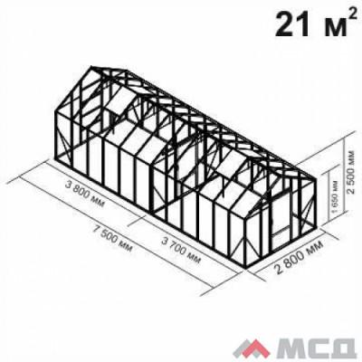 Алюминиевая теплица botanik Standard 21 кв.м.
