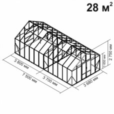Алюминиевая теплица botanik Maximum 28 кв.м.