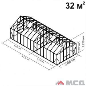 Алюминиевая теплица botanik Maximum 32 кв.м.