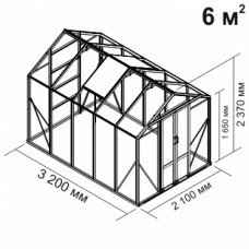 Алюминиевая теплица botanik Mini 6 кв.м.