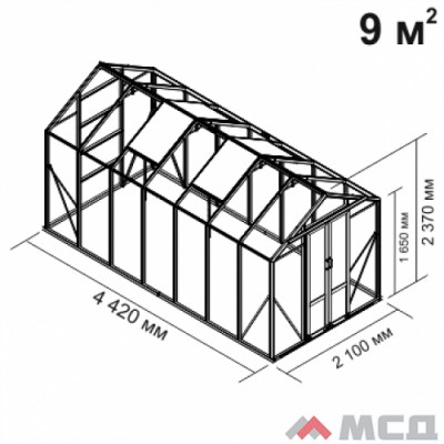 Алюминиевая теплица botanik Mini 9 м2